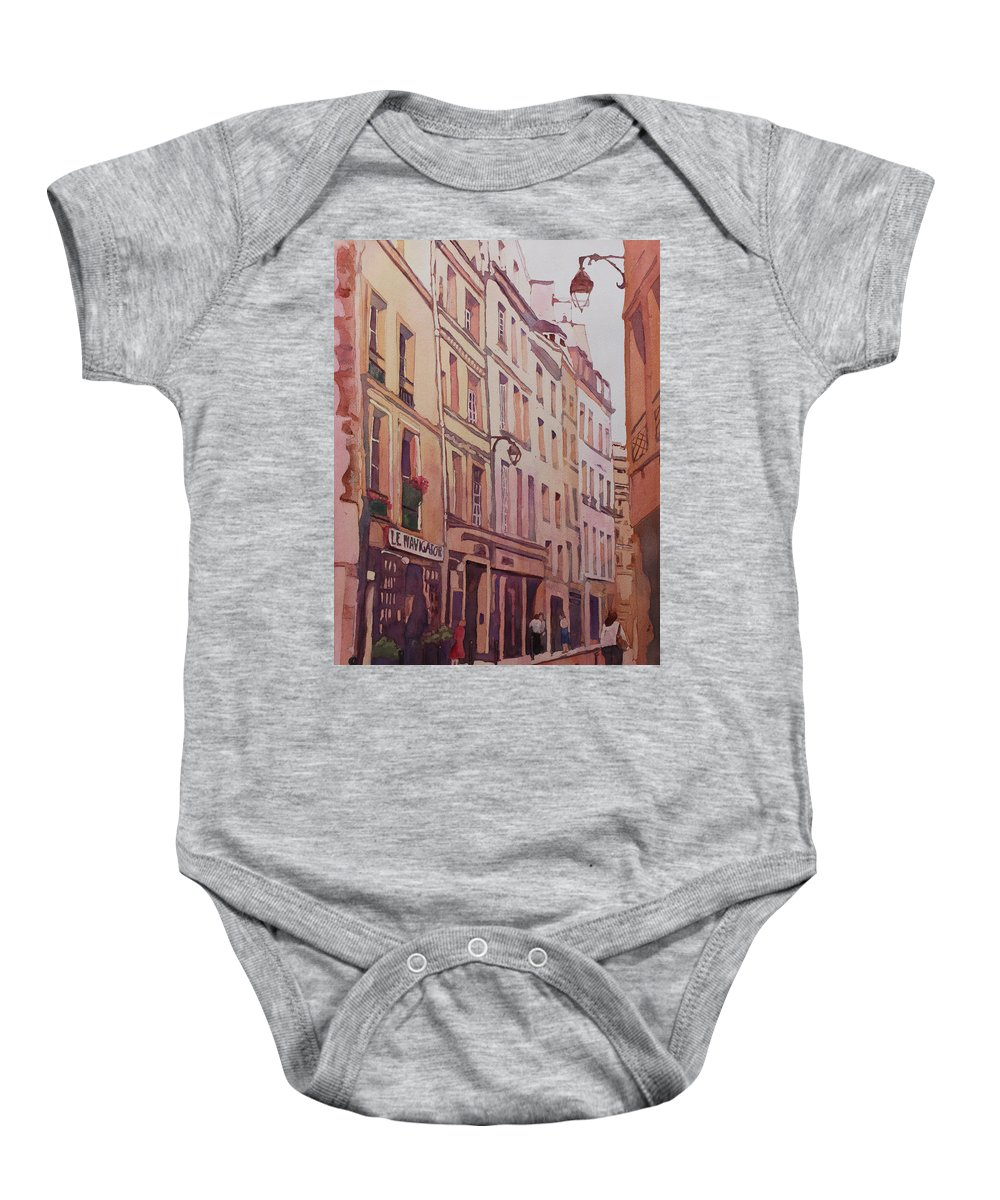 Rue Galande Baby Onesie featuring the painting Rue Galande by Jenny Armitage