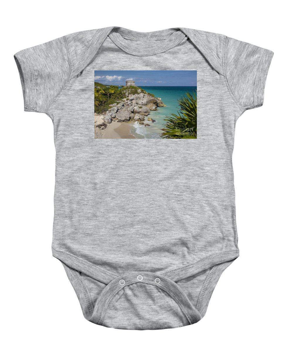 Ancient Baby Onesie featuring the photograph Ruins Of Mayan Temple by Brian Jannsen