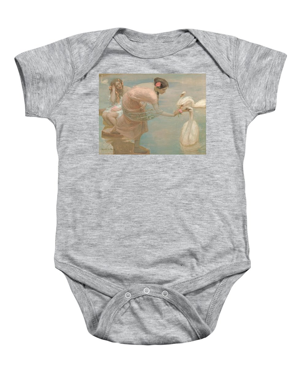 A Summer Morning Baby Onesie featuring the painting A Summer Morning by Georgia Fowler