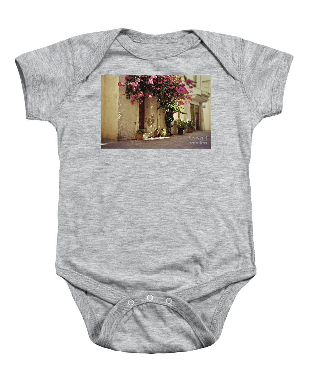 Narrow Baby Onesie featuring the photograph Rustic Greek Townhouse by Sophie McAulay