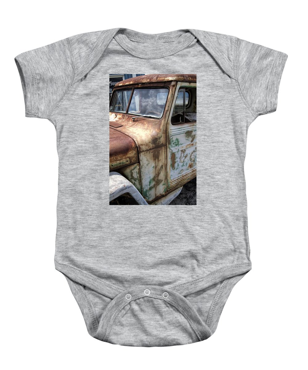 Willy's Baby Onesie featuring the photograph Rusty Classic Willy's Jeep Pickup by Kathy Clark