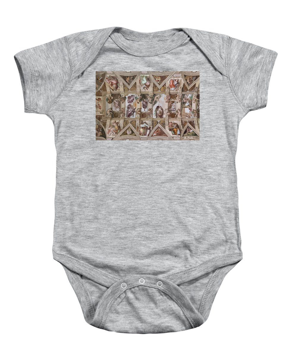 Sistine Chapel Baby Onesie featuring the painting Sacred Ceiling by George Pedro