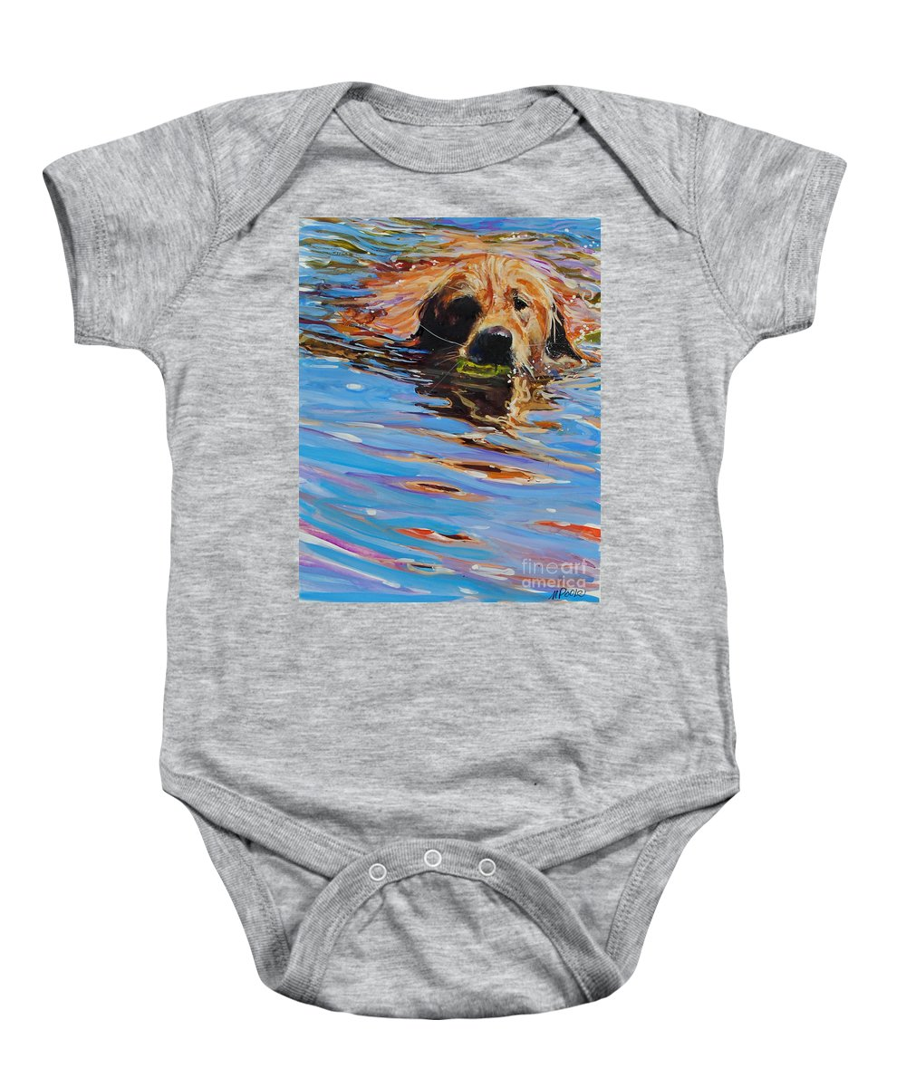 Golden Retriever Baby Onesie featuring the painting Sadie Has A Ball by Molly Poole
