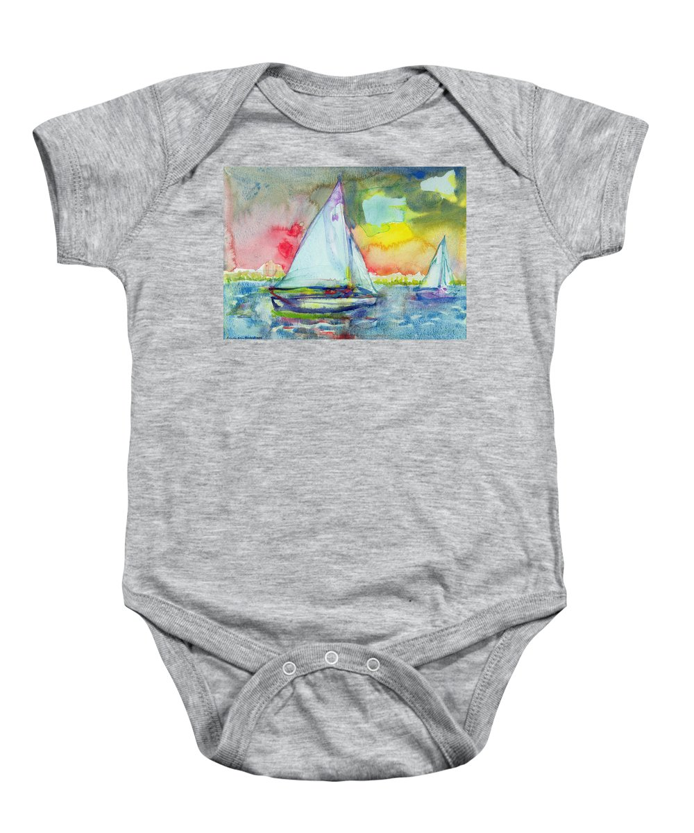 Sailing Baby Onesie featuring the photograph Sailboat Evening Wc On Paper by Brenda Brin Booker