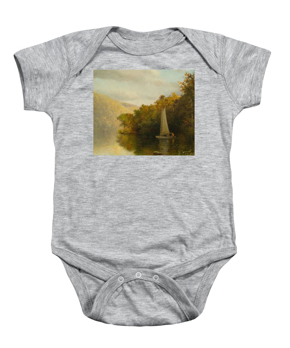 Boat Baby Onesie featuring the painting Sailboat On River by Arthur Quartley