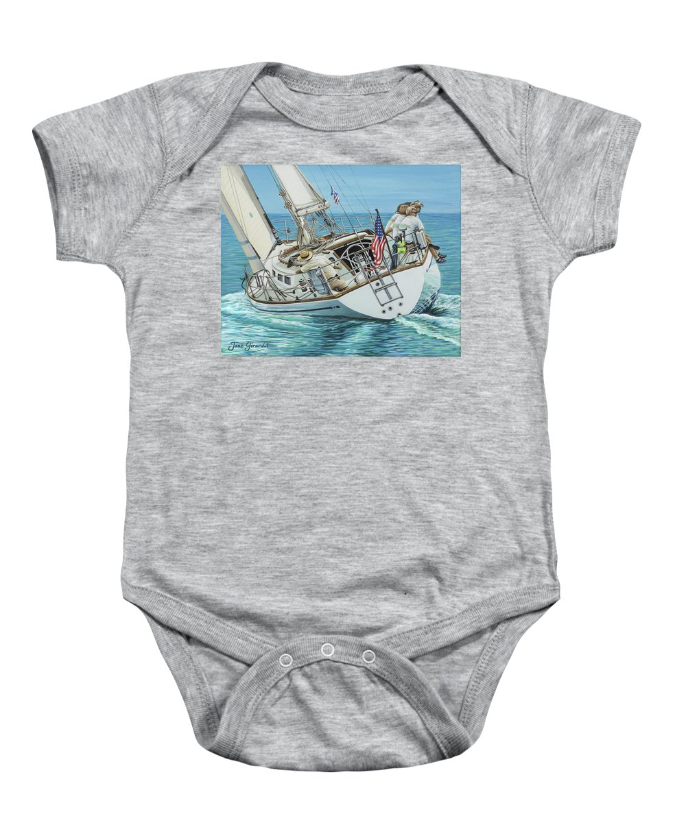 Ocean Baby Onesie featuring the painting Sailing Away by Jane Girardot