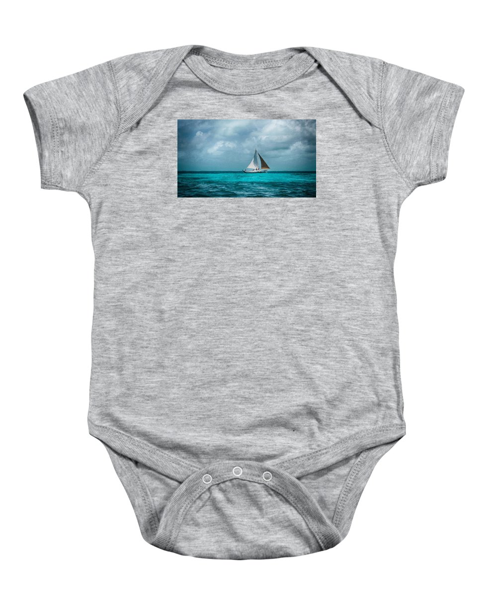 Sailing Tote Bag Baby Onesie featuring the photograph Sailing In Blue Belize by Kristina Deane