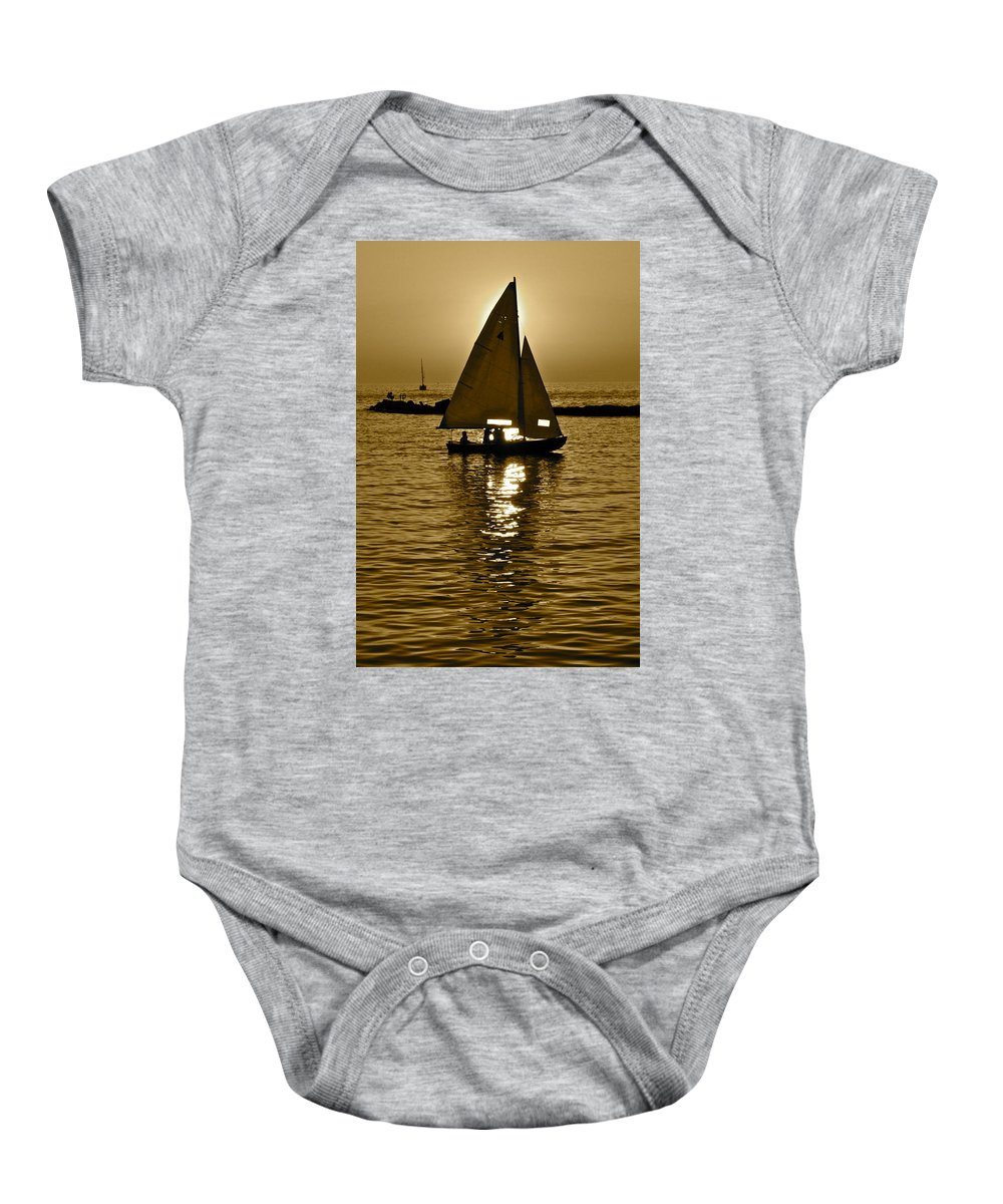 Sailing Baby Onesie featuring the photograph Sailing In Sepia by Frozen in Time Fine Art Photography