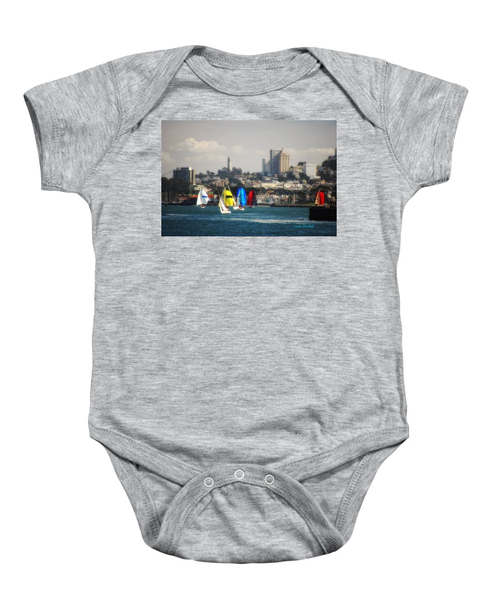 San Francisco Baby Onesie featuring the photograph Sailing On The Bay by Donna Blackhall