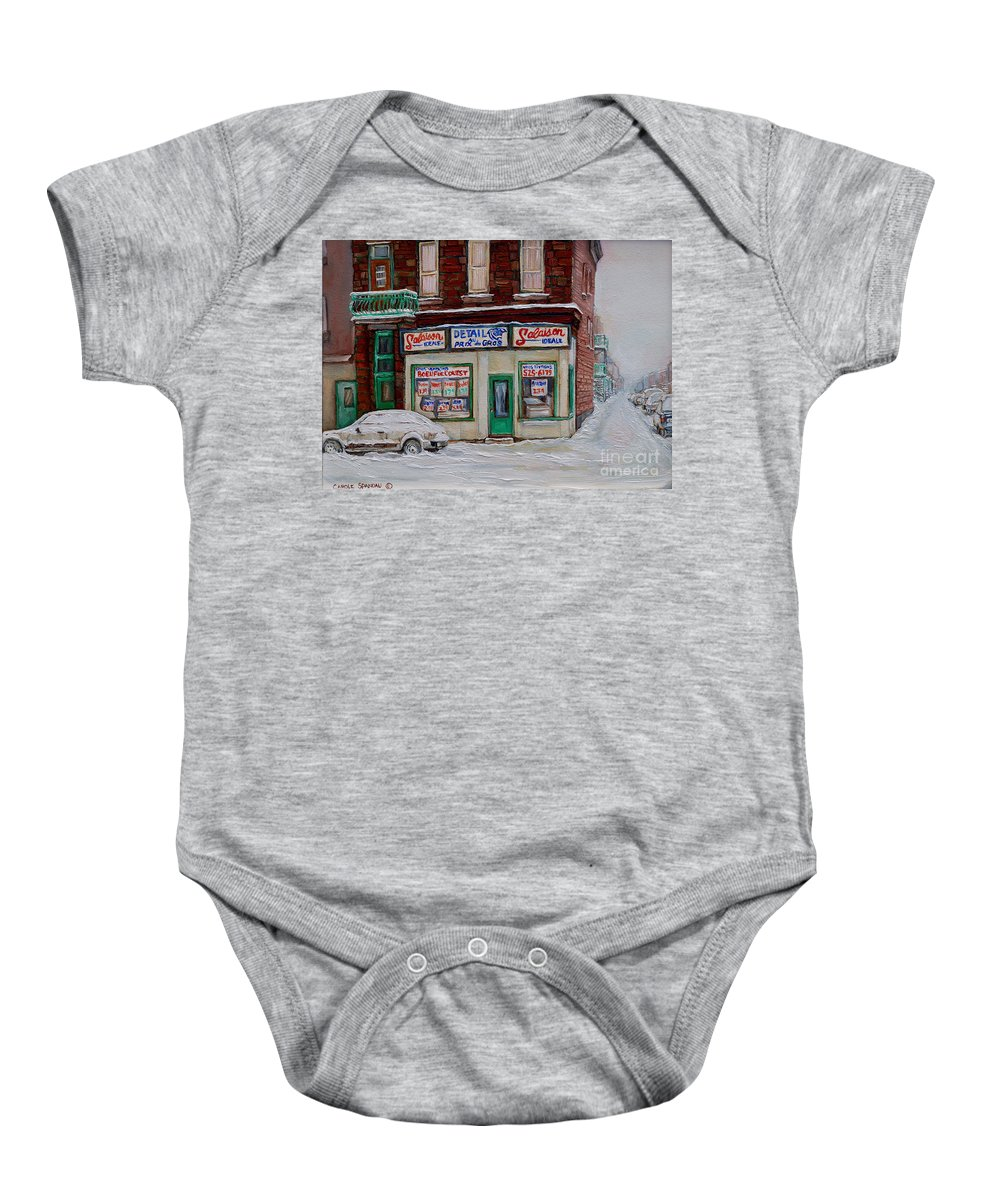 Montreal Baby Onesie featuring the painting Salaison Ideale Montreal by Carole Spandau