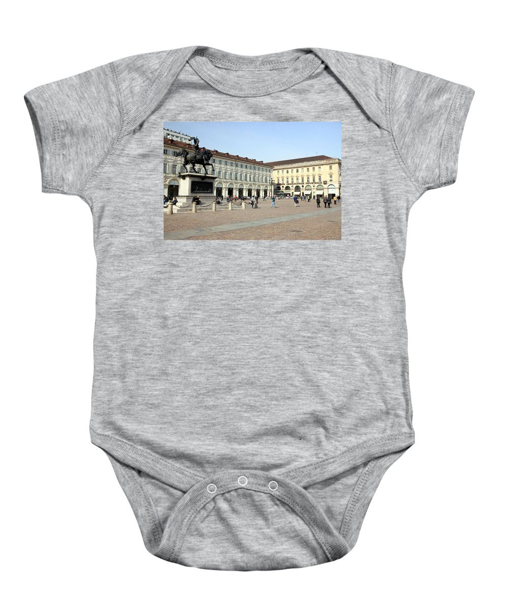 Piazza Baby Onesie featuring the photograph San Carlo Square In Turin by Valentino Visentini