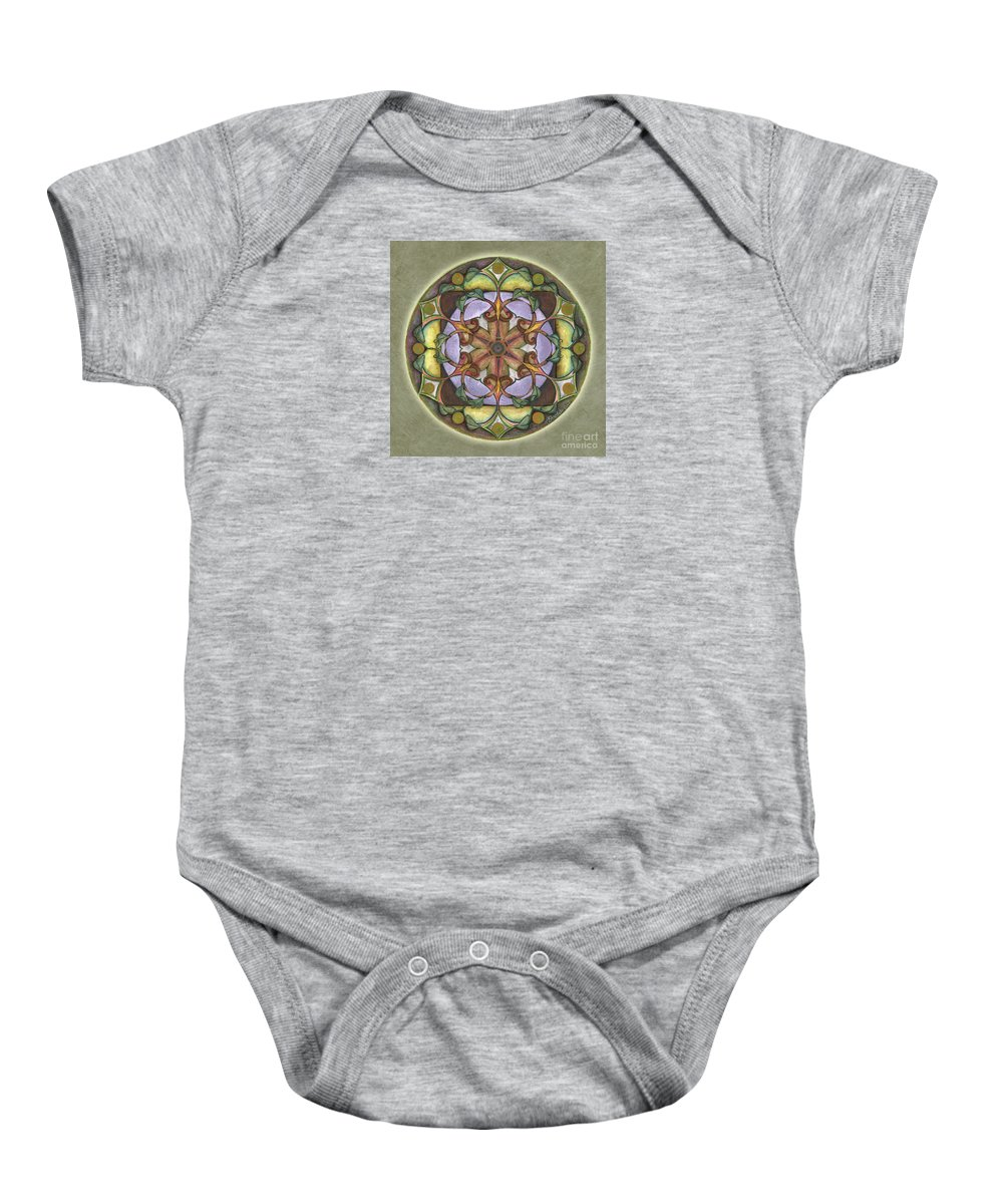 Mandala Art Baby Onesie featuring the painting Sanctuary Mandala by Jo Thomas Blaine