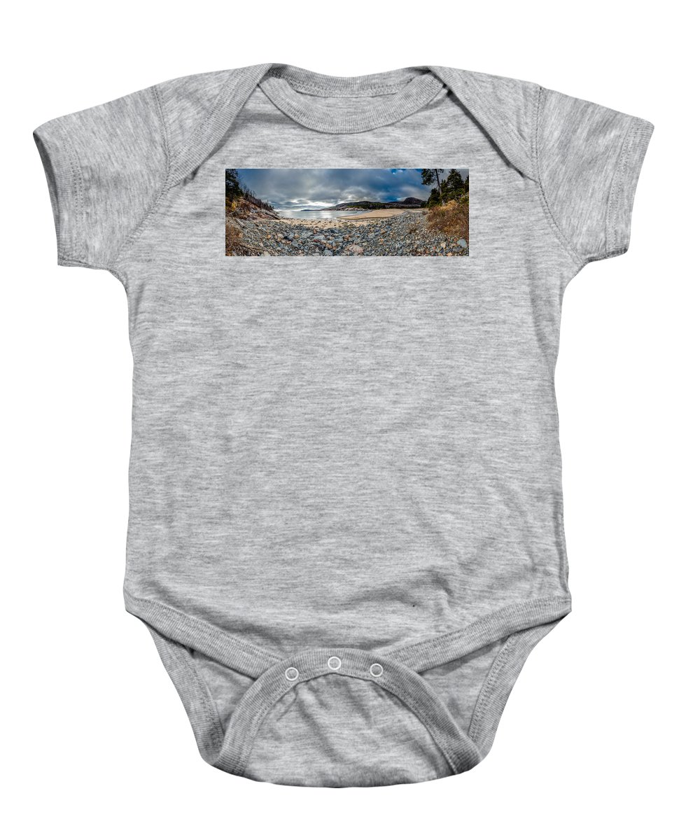 Landscape Baby Onesie featuring the photograph Sand Beach At Acadia by Brent L Ander