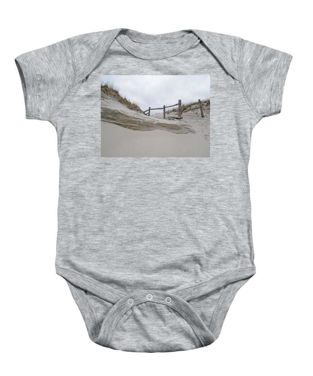 Dune Baby Onesie featuring the photograph Sand Dune And Fence by Mother Nature