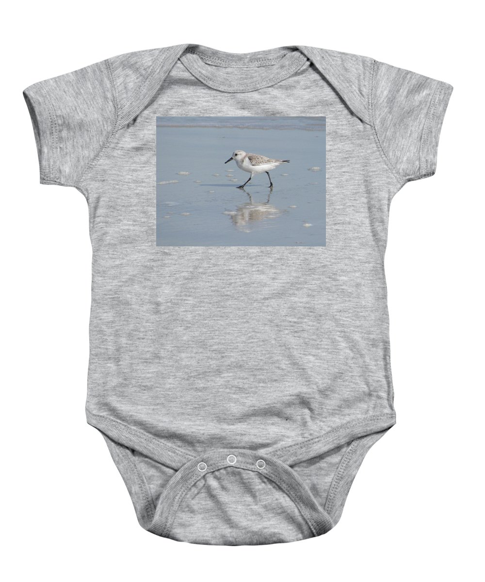 Landscape Baby Onesie featuring the photograph Sandpiper On A Mission by Ellen Meakin