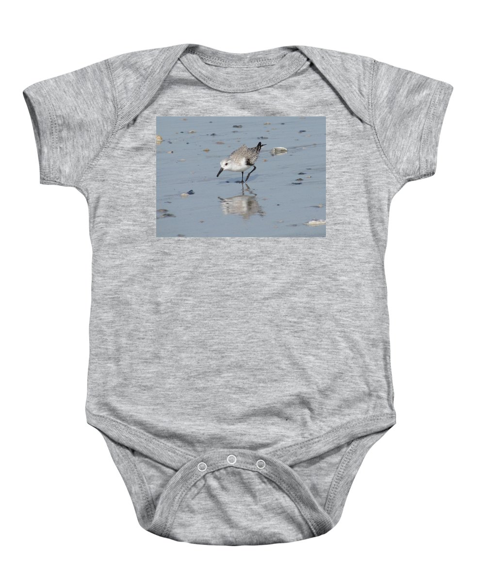 Landscape Baby Onesie featuring the photograph Sandpiper Reflection by Ellen Meakin