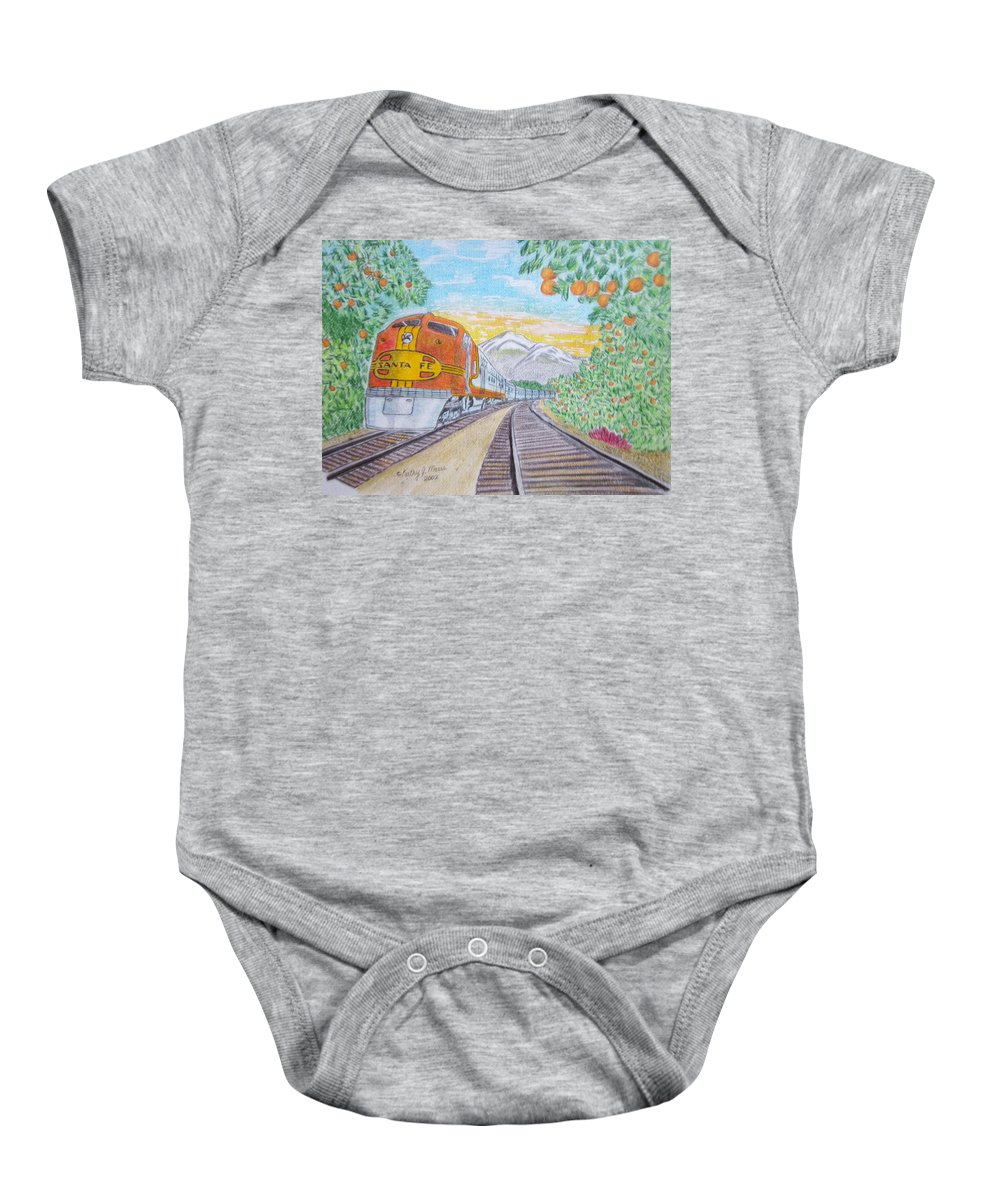 Santa Fe Baby Onesie featuring the painting Santa Fe Super Chief Train by Kathy Marrs Chandler