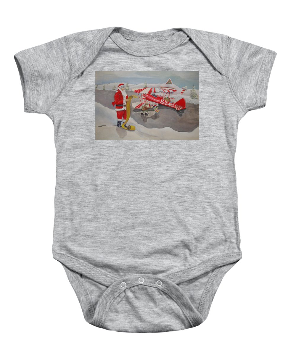 Rick Huotari Baby Onesie featuring the painting Santa's Airport by Rick Huotari