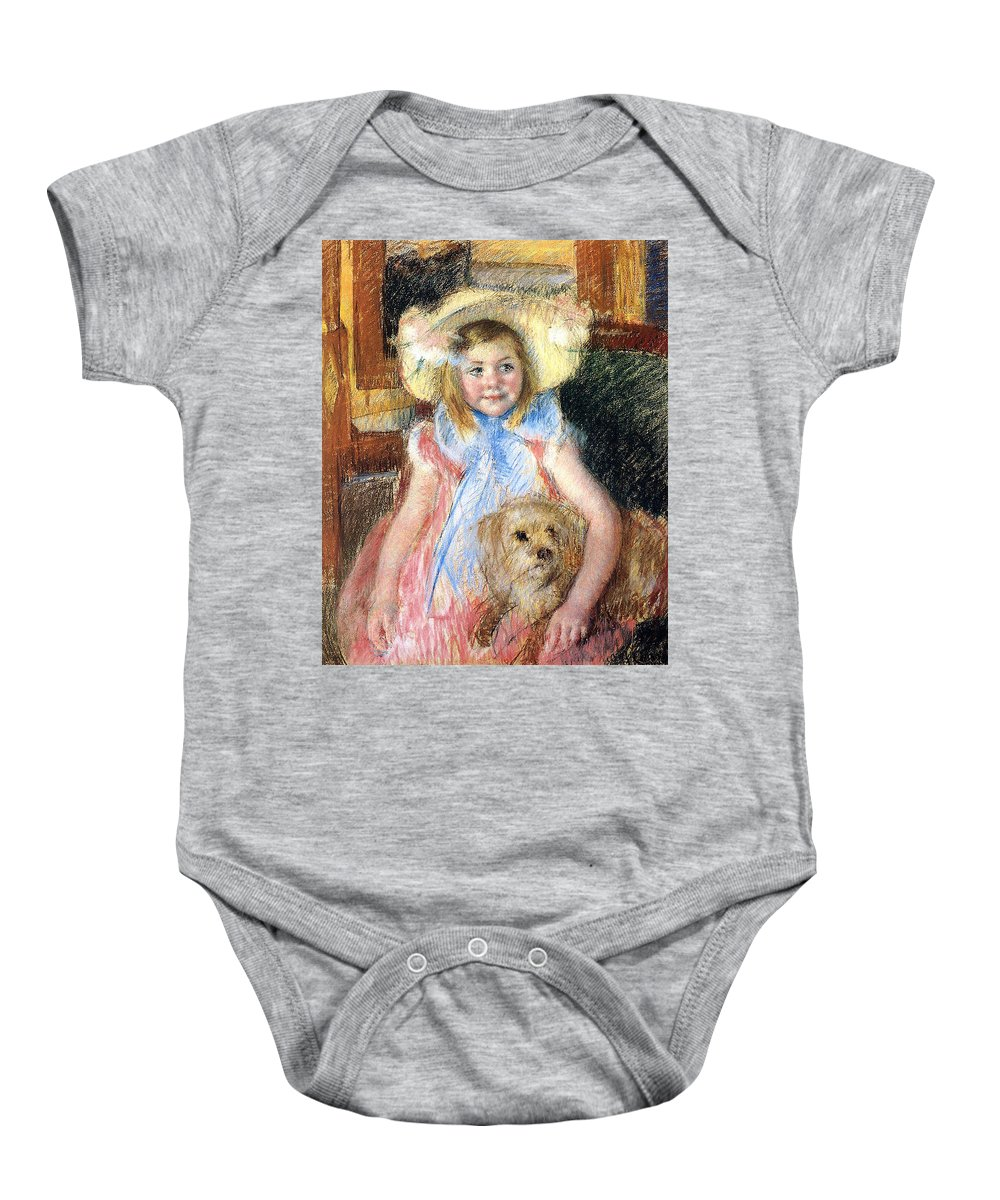 Young Girl Baby Onesie featuring the painting Sara And Her Dog by Mary Stevenson Cassatt