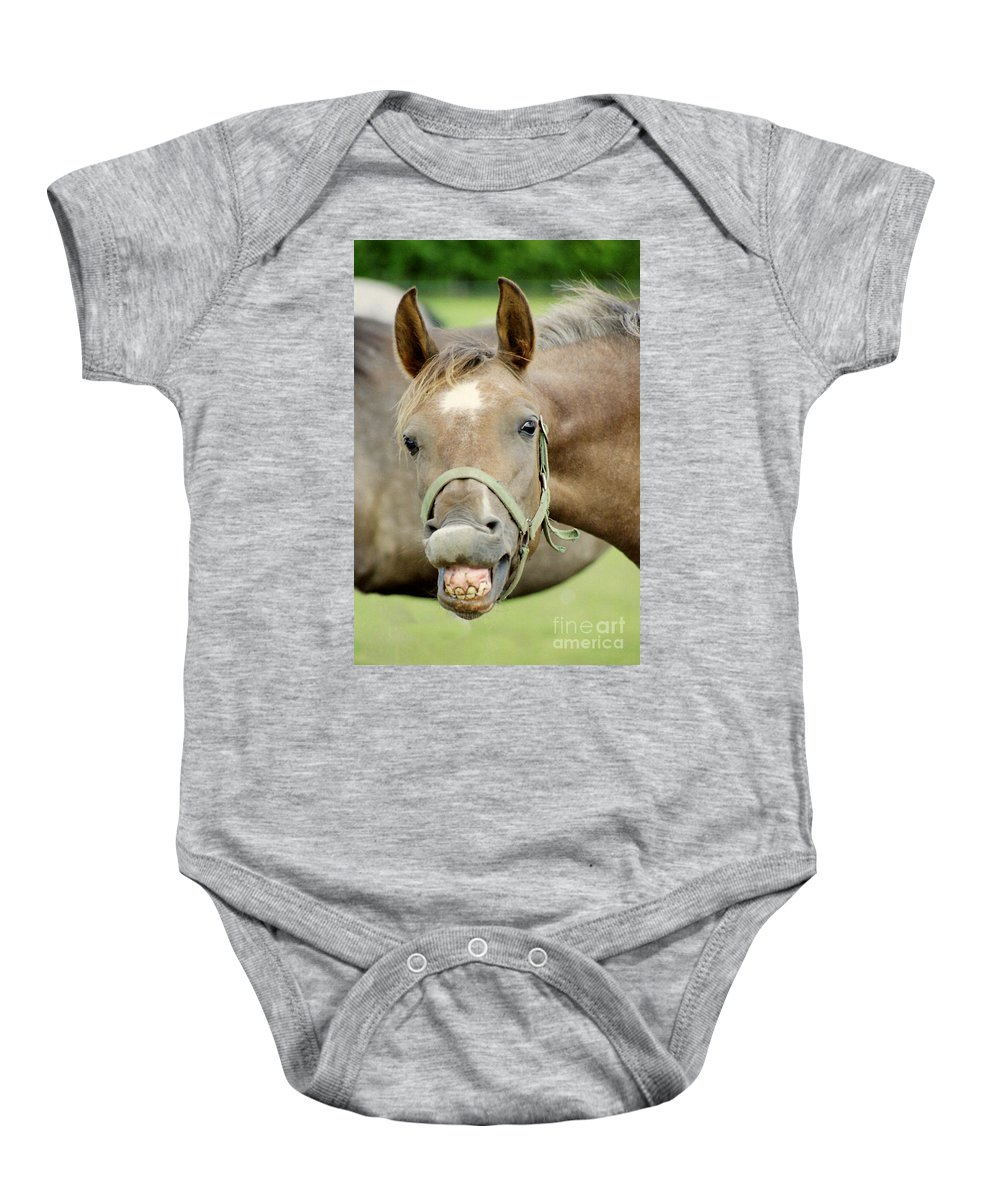 Horse Baby Onesie featuring the photograph Say Cheese by Angel Ciesniarska