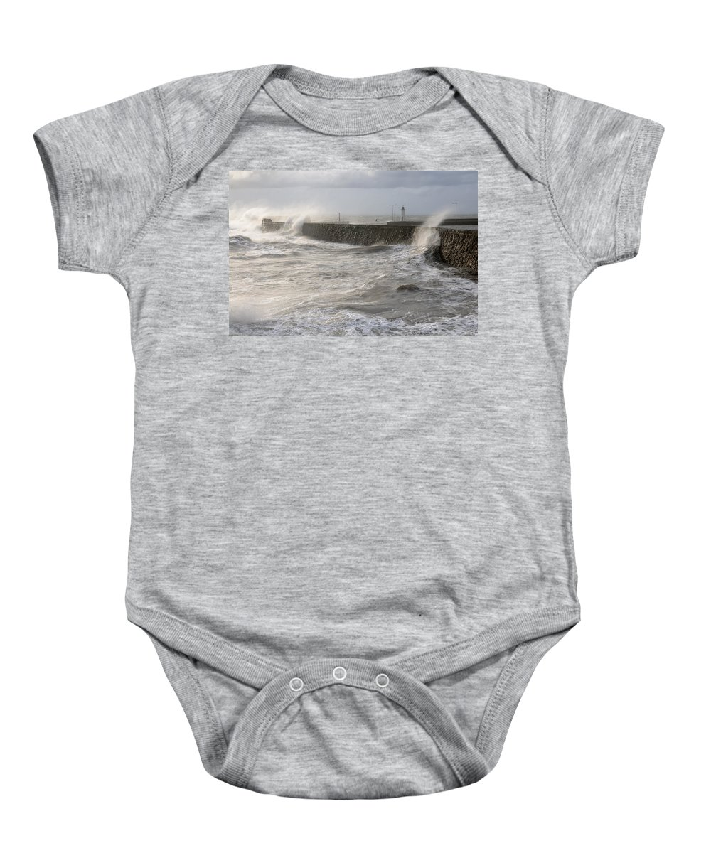 Storm Baby Onesie featuring the photograph Scottish Sea Storm by Jeremy Voisey
