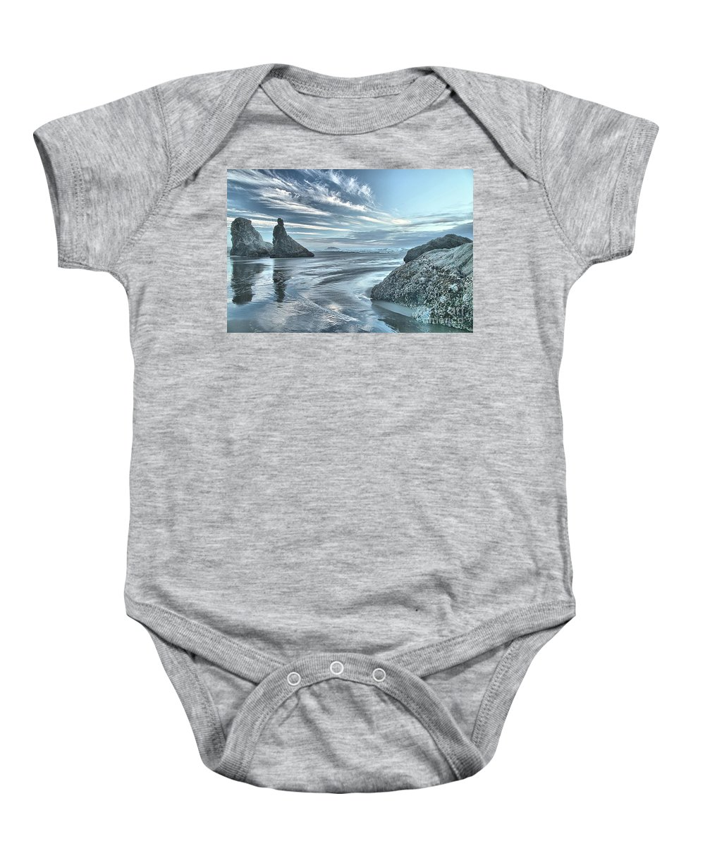 Bandon Beach Baby Onesie featuring the photograph Sculptures On The Shore by Adam Jewell