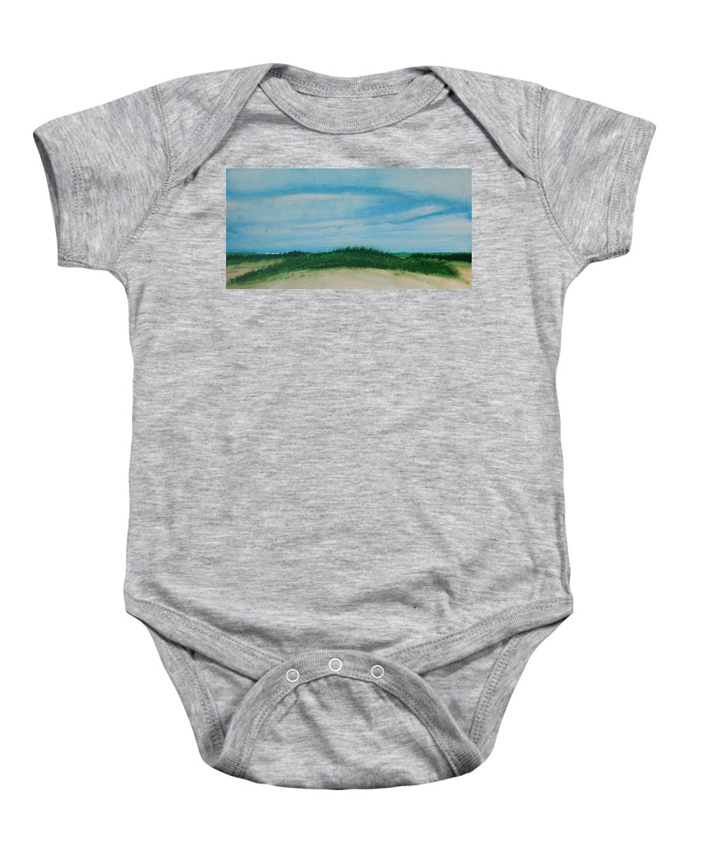 Beach Baby Onesie featuring the painting Sea Oat Dune 2 by Rhodes Rumsey