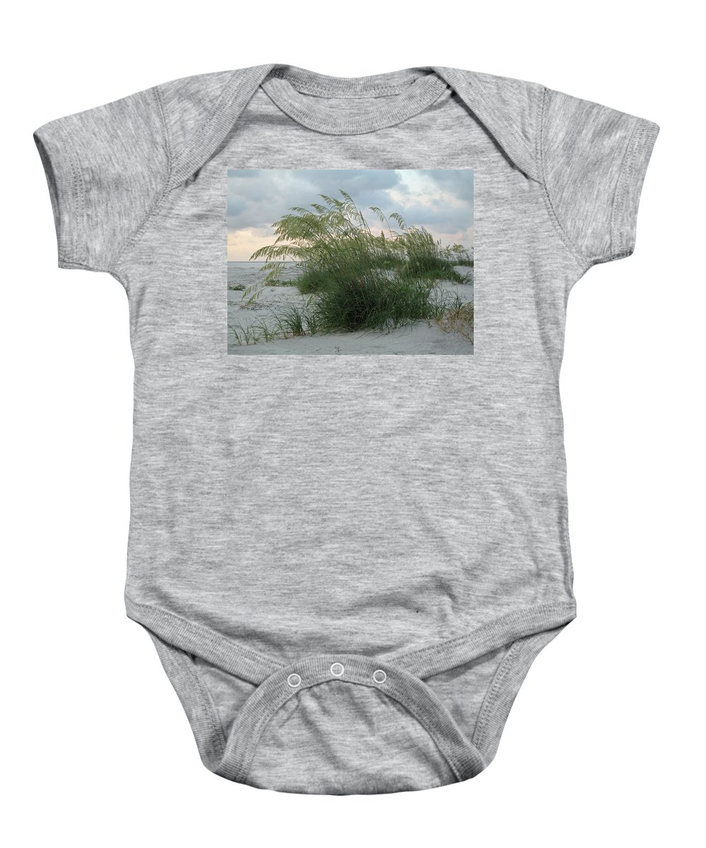 Sea Oats Baby Onesie featuring the photograph Sea Oats by Carol Luzzi