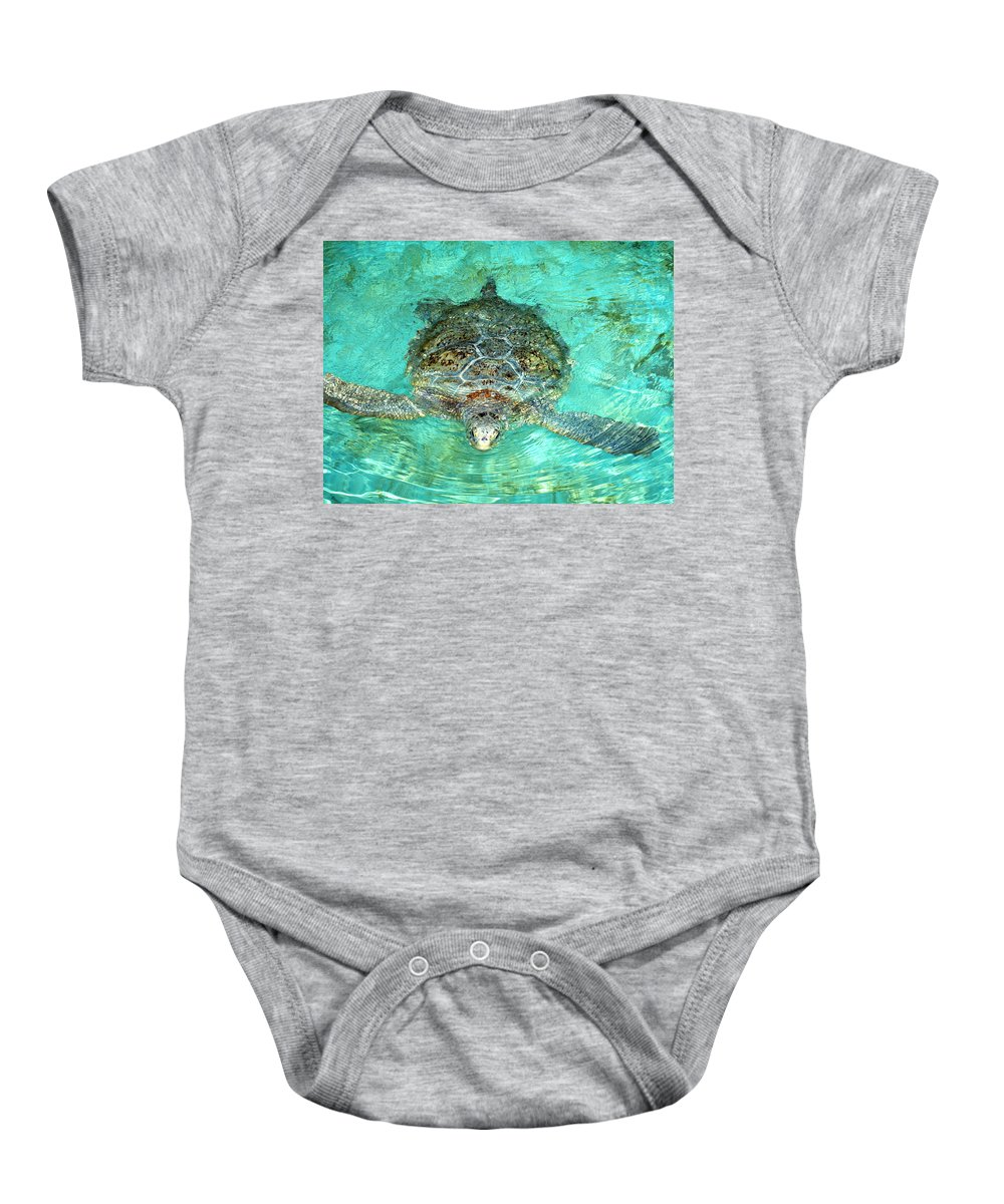 Turtle Baby Onesie featuring the photograph Single Sea Turtle Swimming Through The Water by Jessica Foster