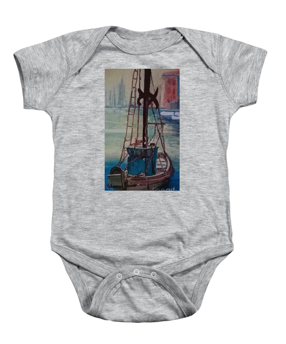 Boat Baby Onesie featuring the painting Sea Worthy by Kelly Delvalle