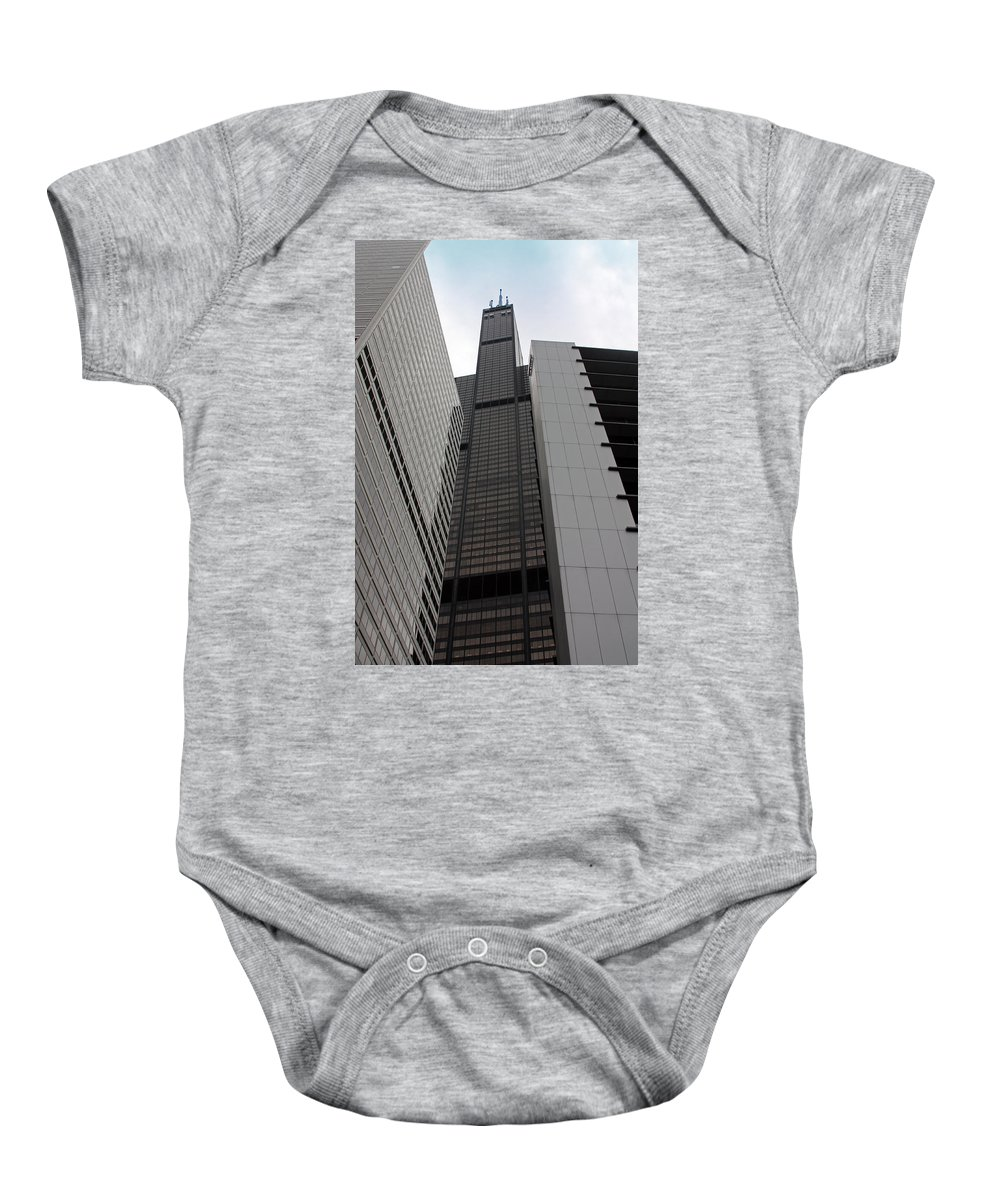 Sears Tower Baby Onesie featuring the photograph Sears Between Two Buildings by Carolyn Stagger Cokley