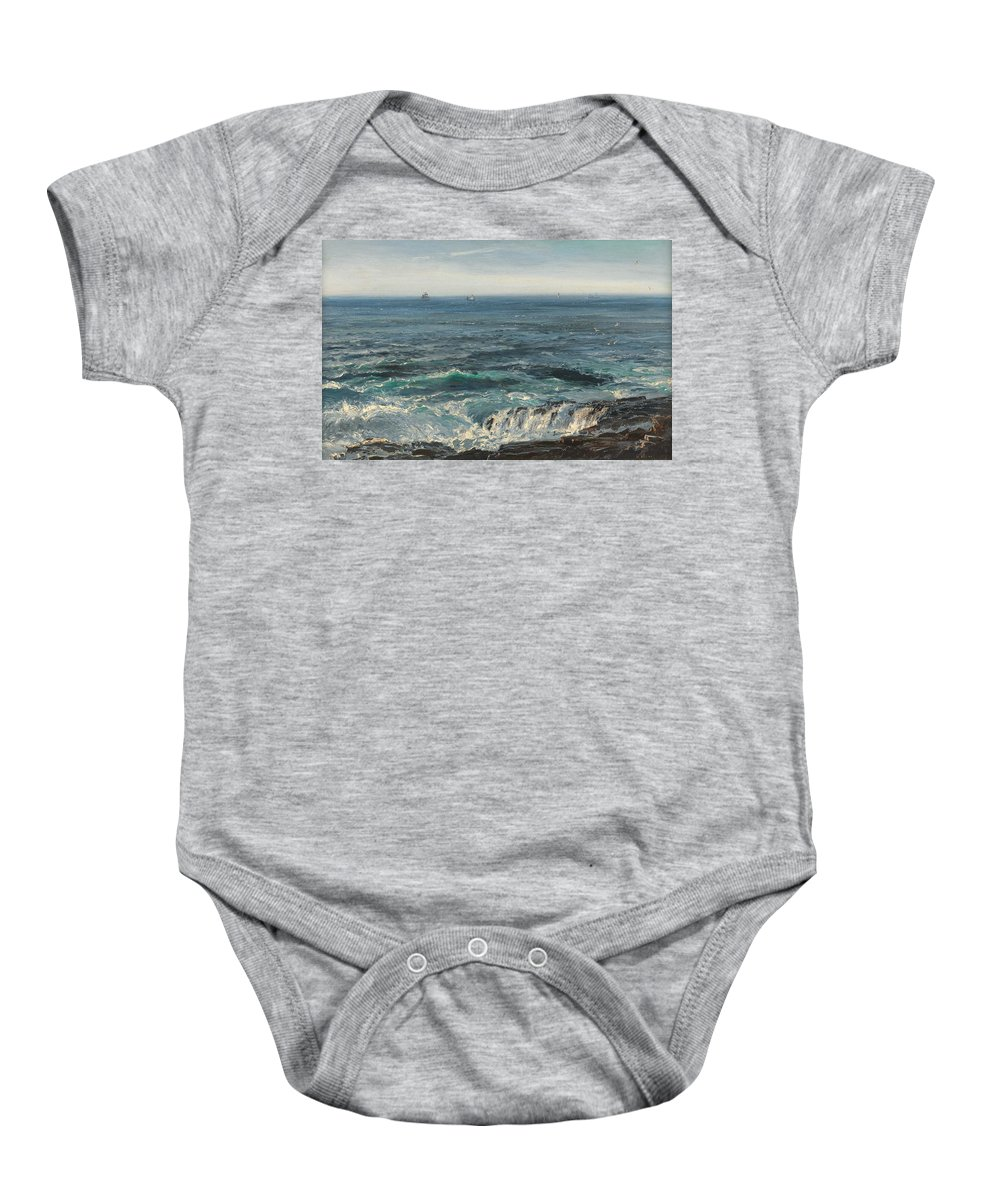 Seascape; Sea; Water; Coast; Coastal; Rocks; Rocky; Wave; Waves; Foam; Boat; Boats; Ship; Ships Baby Onesie featuring the painting Seascape 1877 by Henry Moore