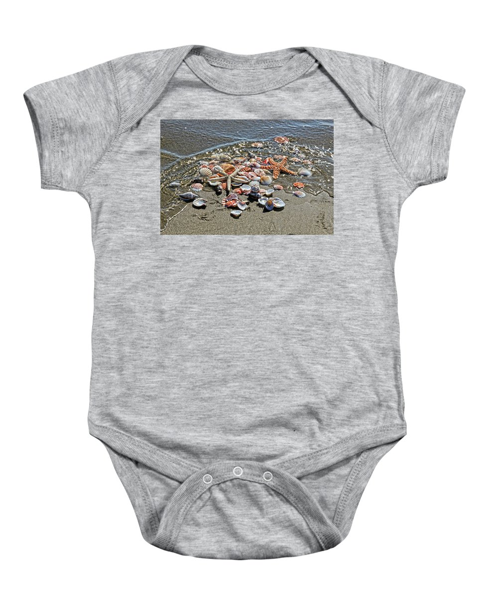 Sea Shells Baby Onesie featuring the photograph Seashells by Athena Mckinzie