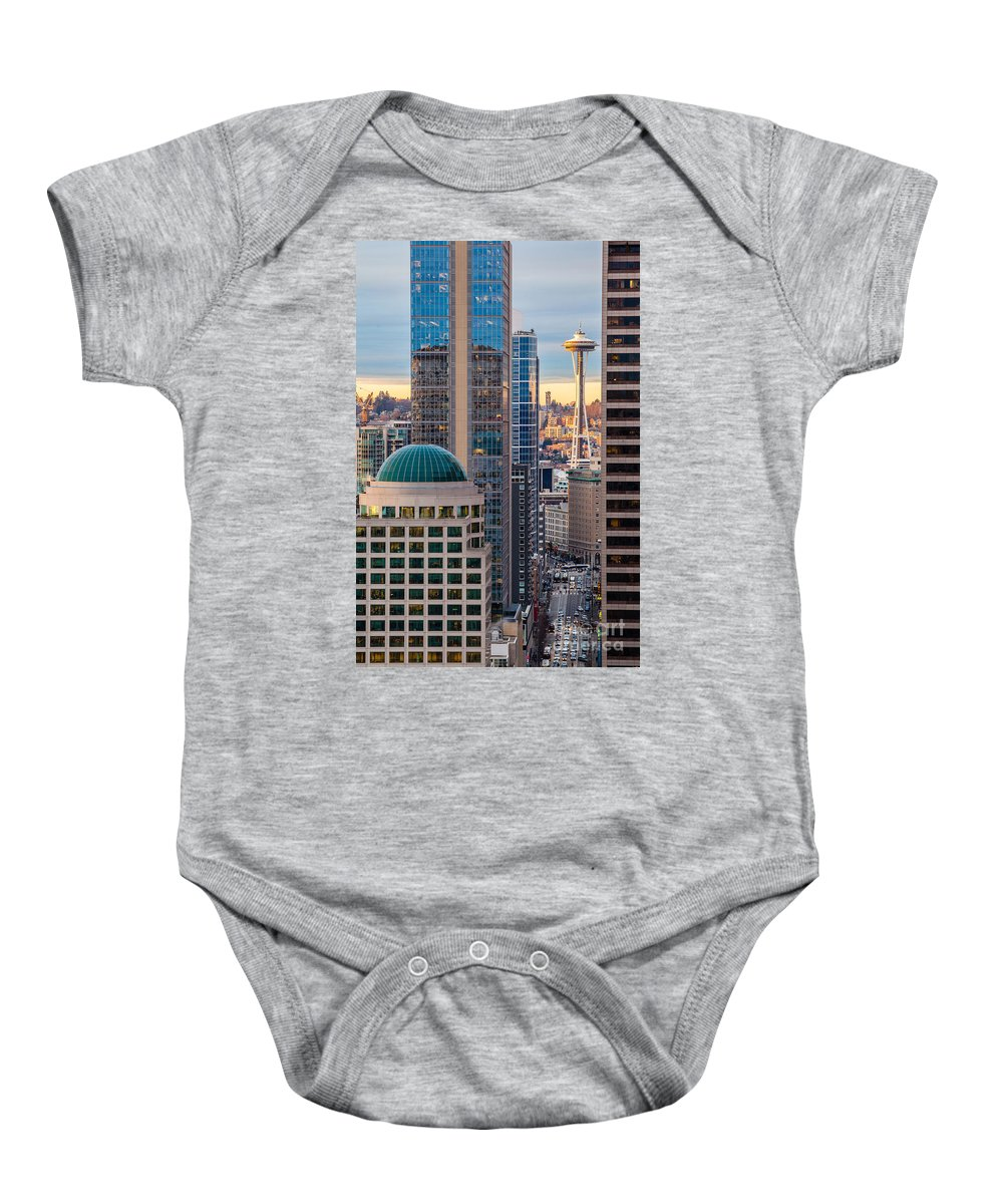 Elliott Bay Baby Onesie featuring the photograph Seattle Space Needle Golden Sunset Light by Mike Reid