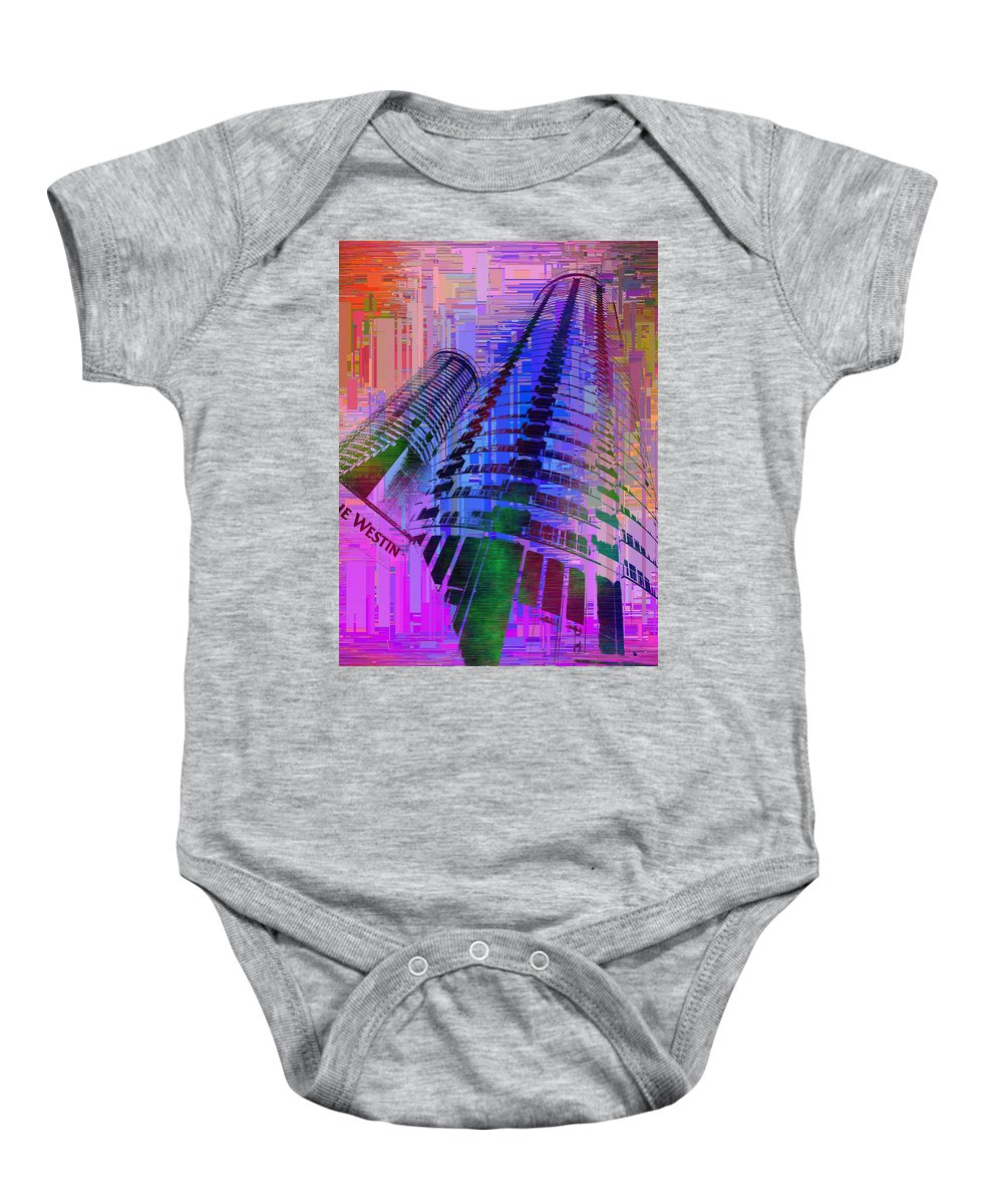 Abstract Baby Onesie featuring the digital art Seattle Westin Cubed 1 by Tim Allen