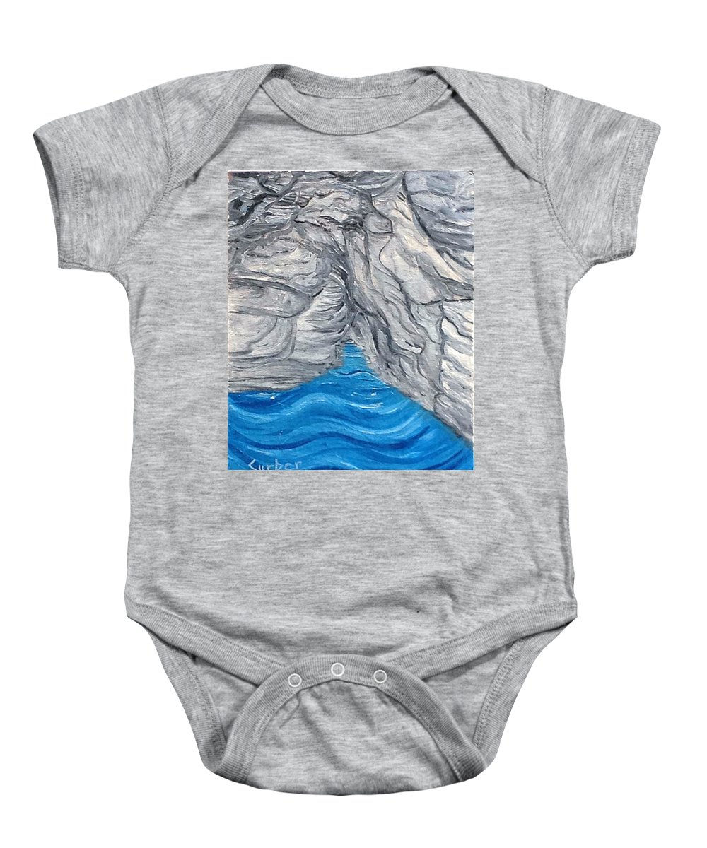Black Baby Onesie featuring the painting Secret Blue Cave by Suzanne Surber
