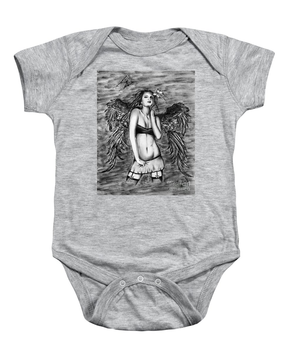 Seductive Angel Baby Onesie featuring the drawing Seductive Angel by Peter Piatt