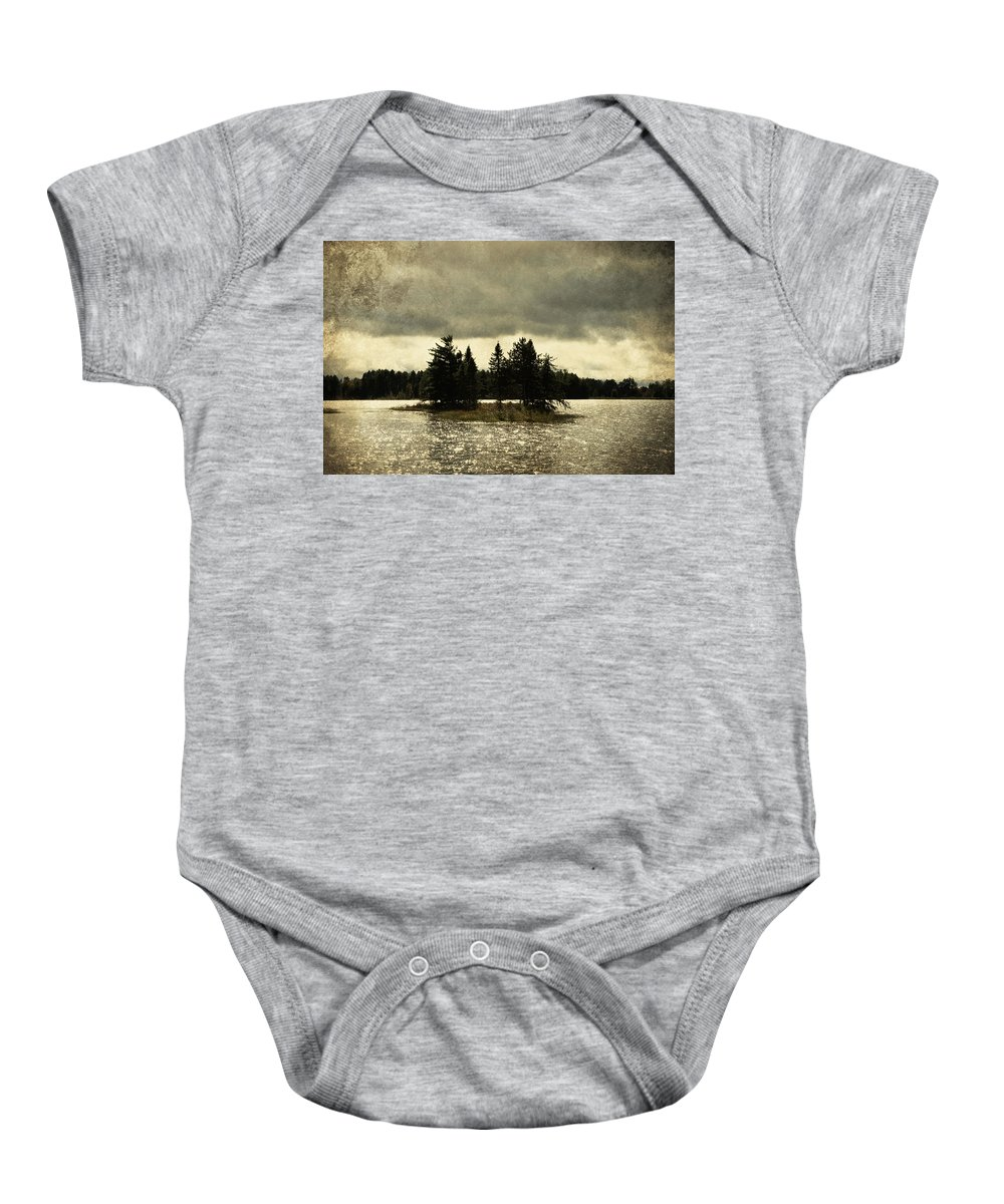 Evie Baby Onesie featuring the photograph Seney Coffee Black by Evie Carrier