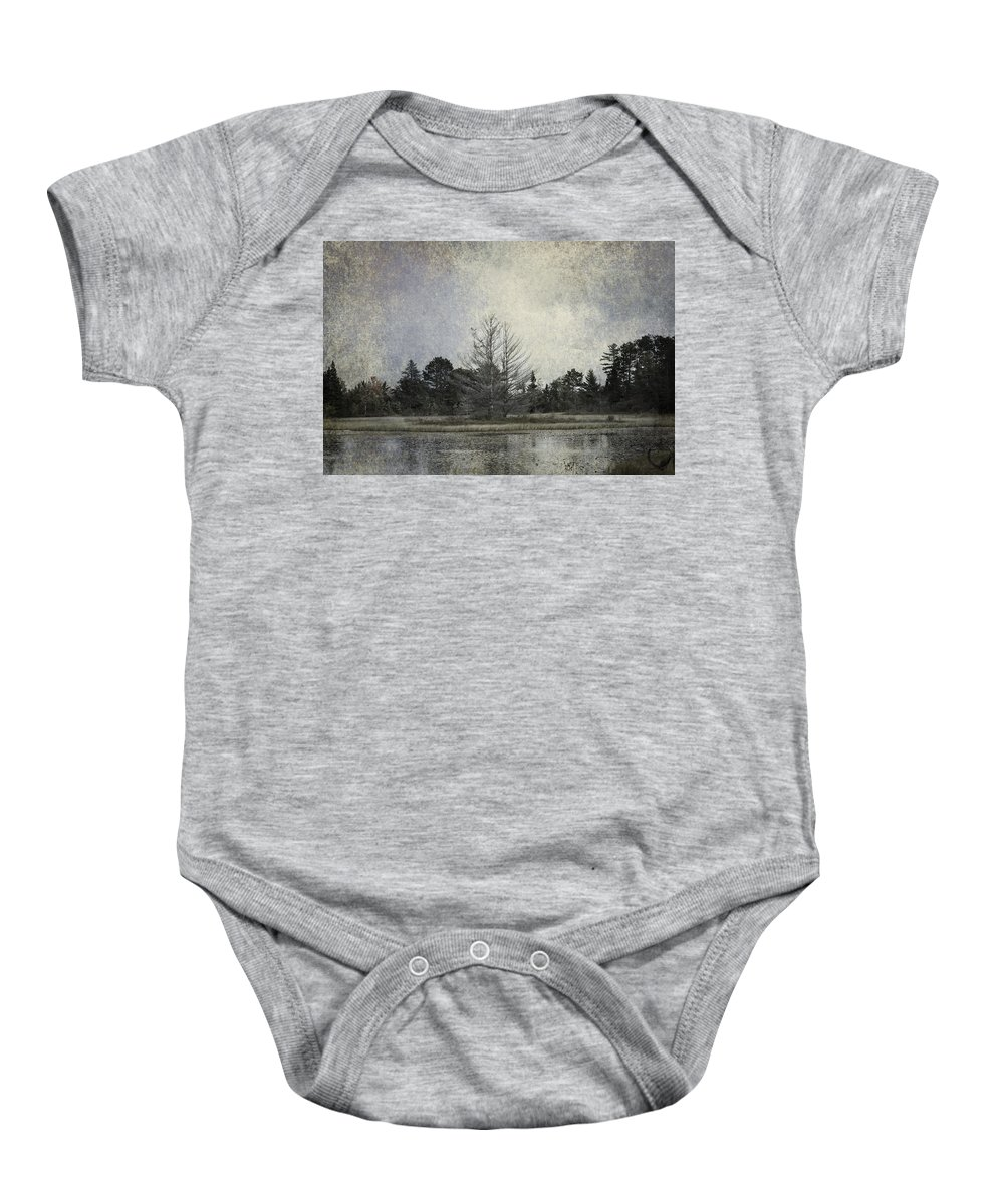 Evie Baby Onesie featuring the photograph Seney Coffee Cup Series Blue by Evie Carrier