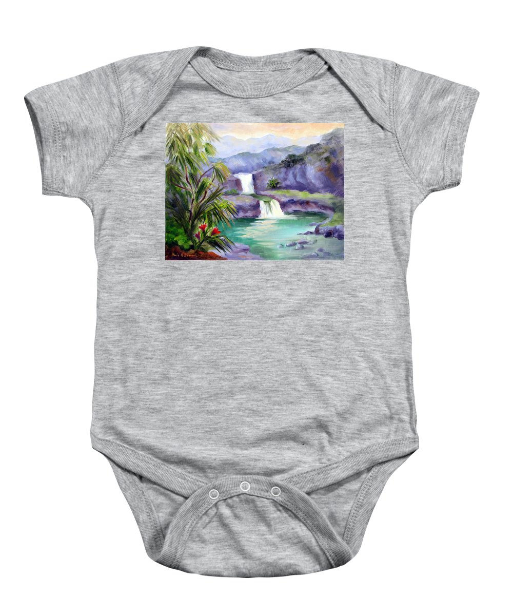 Hawaii Baby Onesie featuring the painting Seven Sacred Pools by Karin Leonard