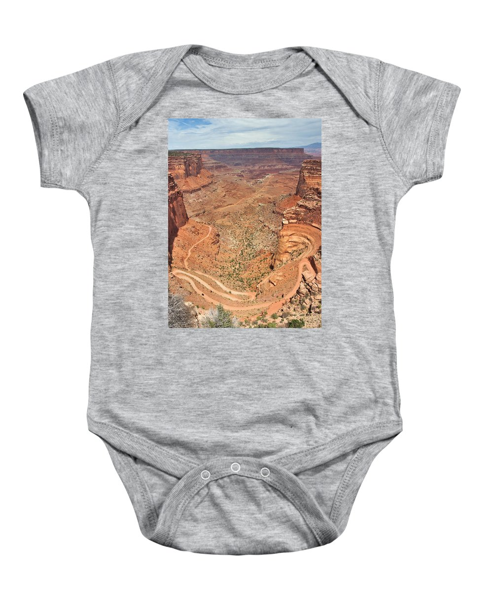 3scape Baby Onesie featuring the photograph Shafer Trail by Adam Romanowicz