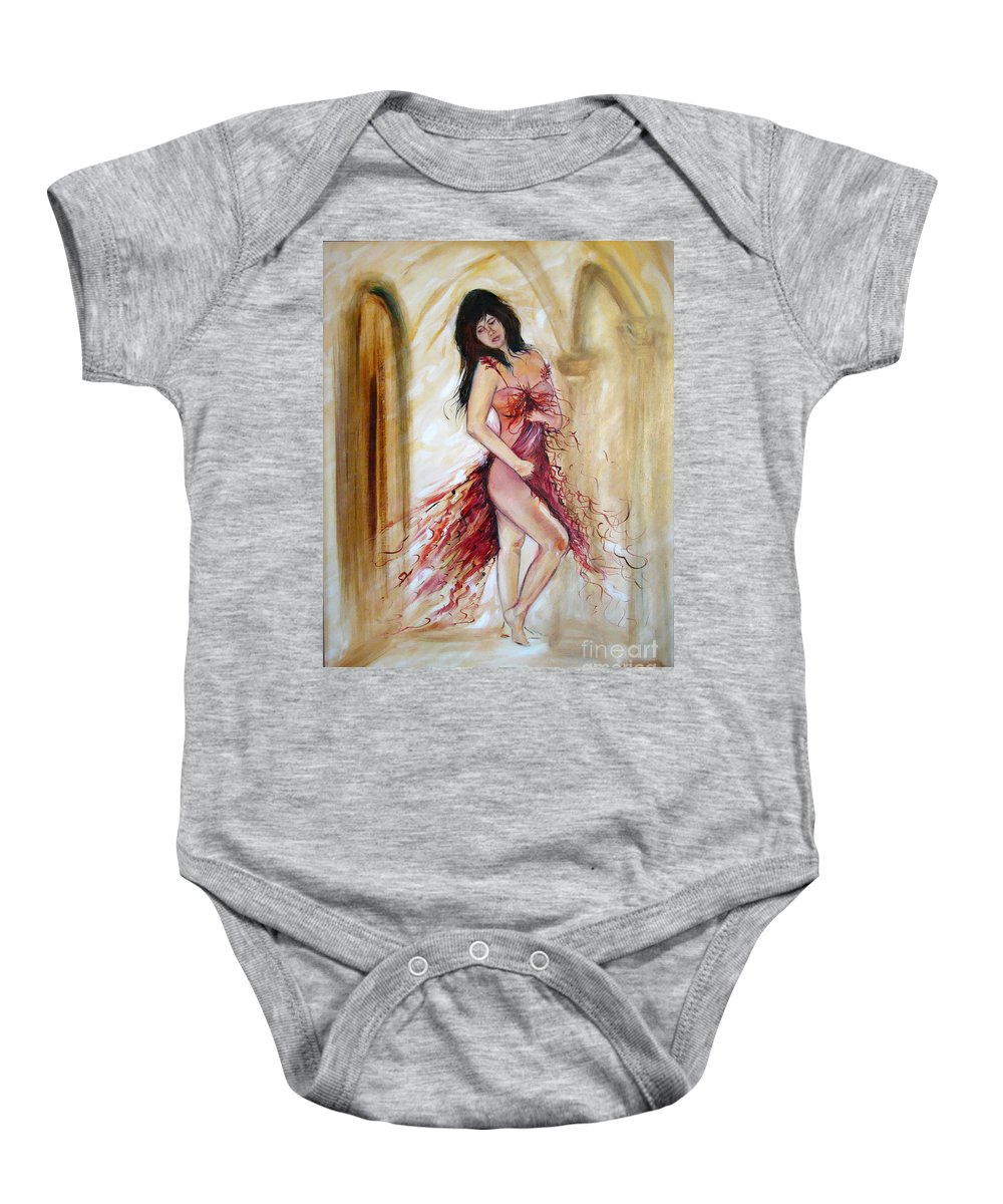Contemporary Art Baby Onesie featuring the painting She by Silvana Abel