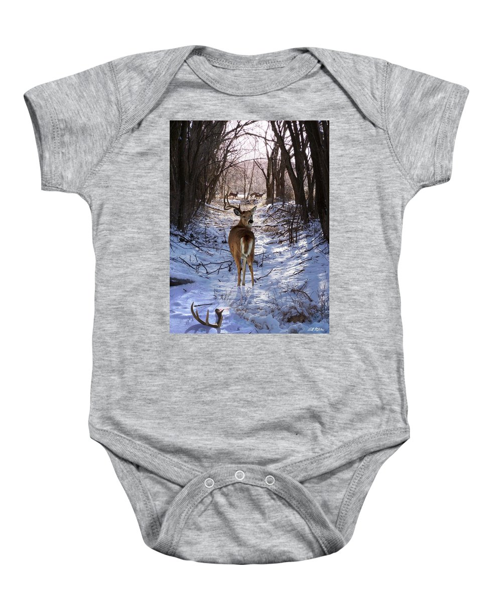 Deer Baby Onesie featuring the mixed media Shedding Time by Barbara Stephens