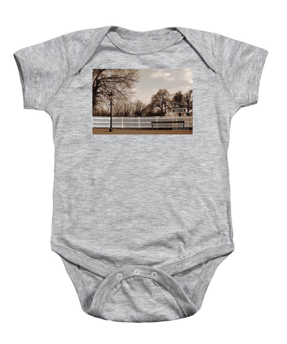 Olde Worlde Baby Onesie featuring the photograph Shenton Station by Linsey Williams