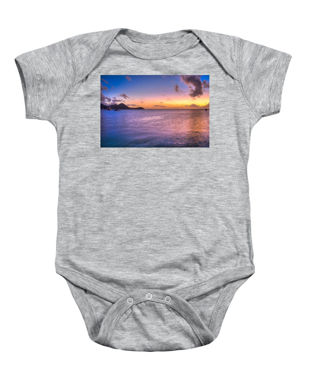 Saint Lucia Baby Onesie featuring the photograph Sherri's Sunset St. Lucia by Ferry Zievinger