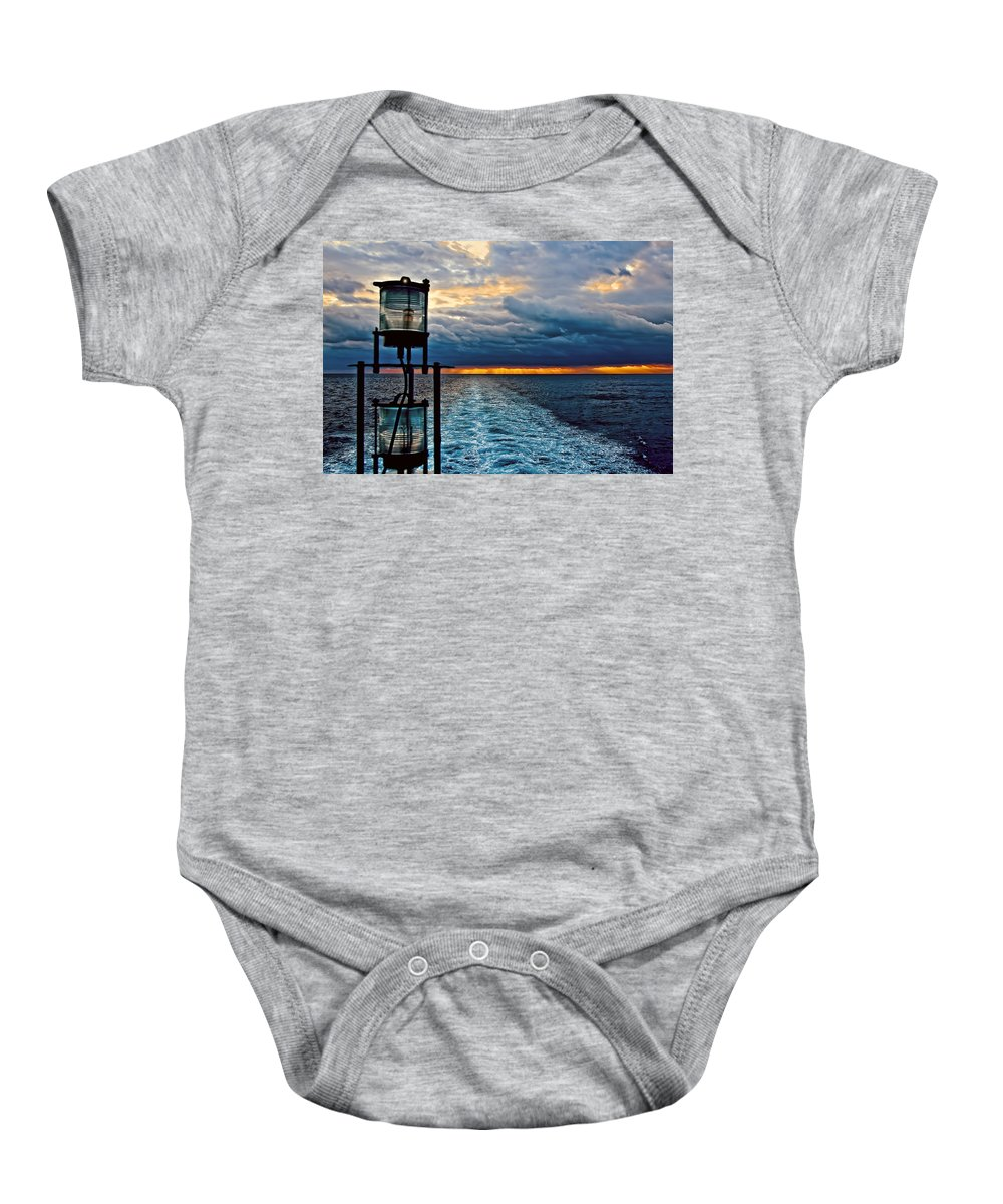 Antique Baby Onesie featuring the photograph Ship Lamps by Maria Coulson