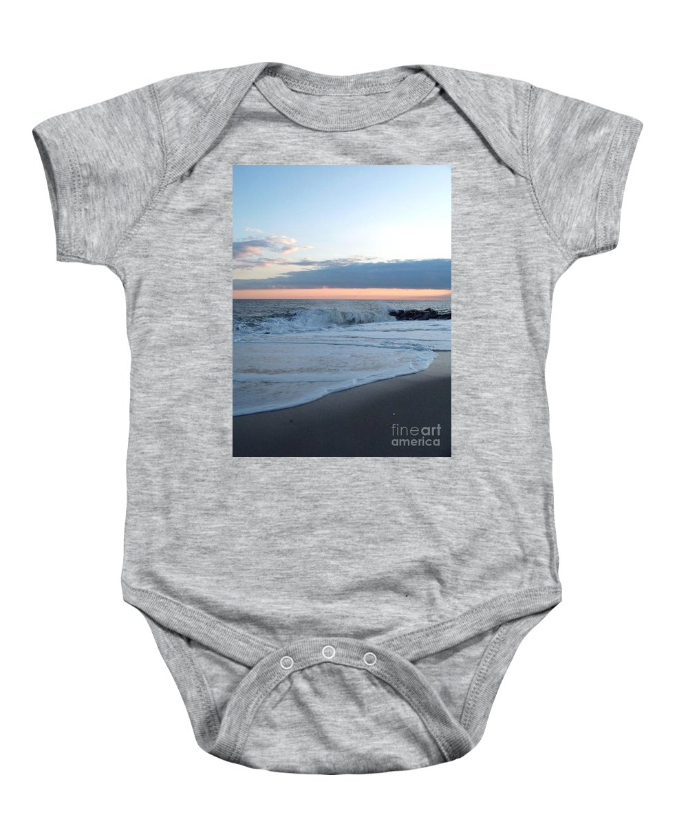 Shoreline Baby Onesie featuring the photograph Shoreline And Waves At Cape May by Eric Schiabor