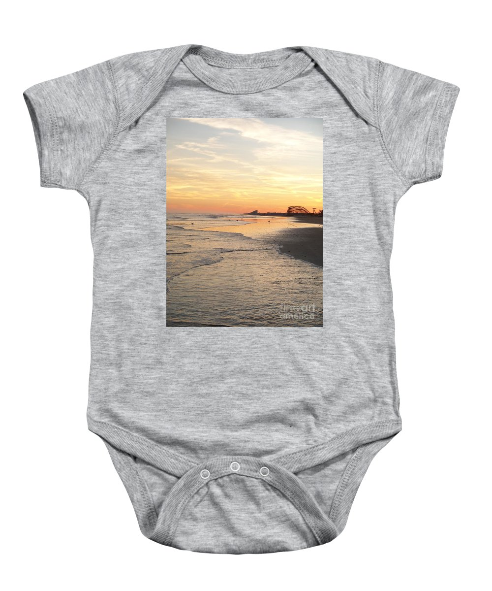 Jersey Shore Baby Onesie featuring the photograph Shoreline Nj by Eric Schiabor
