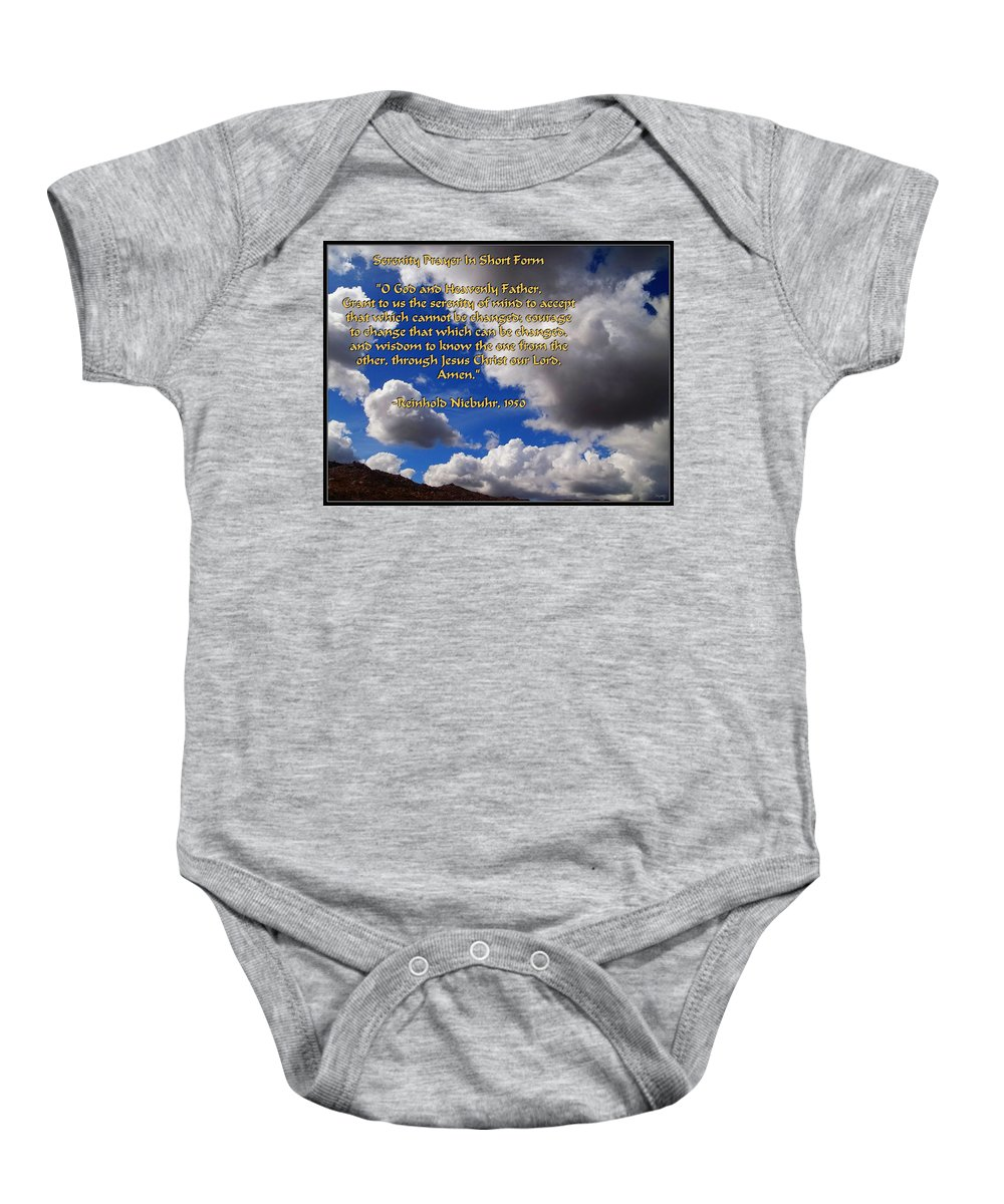 Glenn Mccarthy Baby Onesie featuring the photograph Short Serenity Prayer by Glenn McCarthy Art and Photography