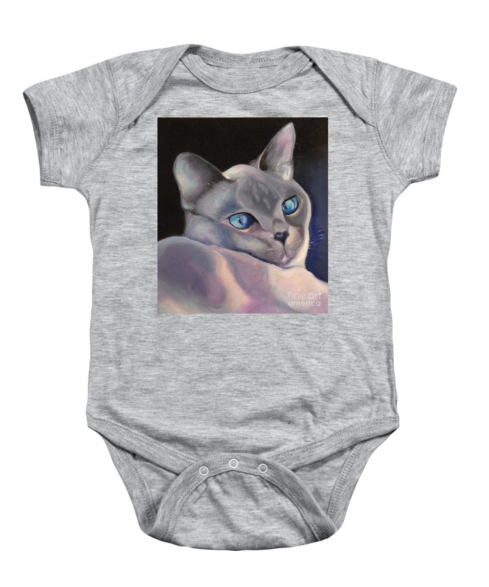 Cat Siamese Greeting Card Baby Onesie featuring the painting Siamese In Blue by Susan A Becker